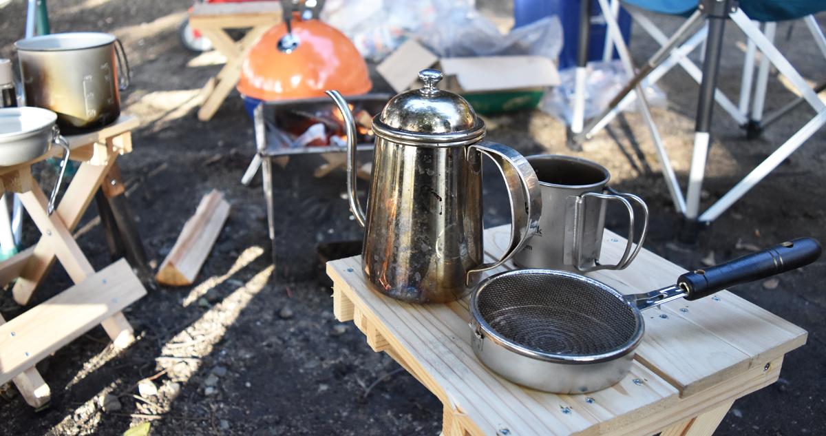 佐部利氏の野外コーヒー焙煎セット