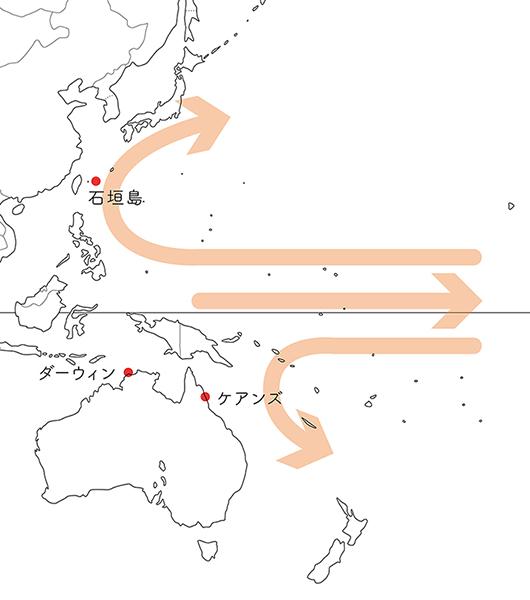東アジアからオーストラリア付近の海流図